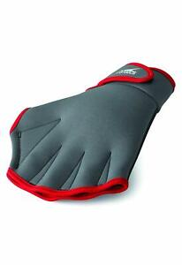 Speedo-Aqua-Fit-Training-Swim-Gloves-Charcoal-Red-X-Large