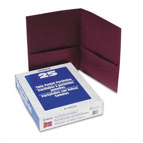 Oxford Twin-Pocket Portfolio Embossed Leather Grain Paper ESS57557 Burgundy