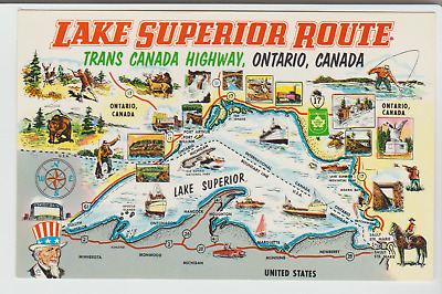 Lake Superior Route Map, Trans Canada Highway Ontario, 1950s Postcard