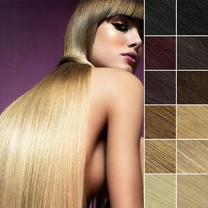 100-Remy-Echthaar-Extensions-Straehnen-Clip-In-Hair-Haarverlaengerung-40-65cm