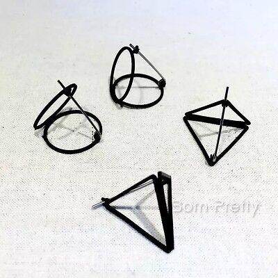 1Pair Geometrical Stereoscopic Punk Style Hollow Ear Studs Earrings Jewellery