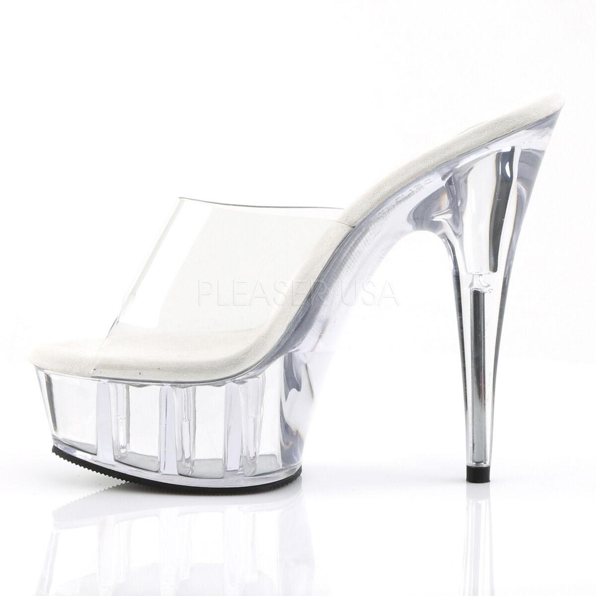 Descuento barato Pleaser Delight-601 Ladies Clear Stiletto Heel Platform Slide Pole Dance Shoes
