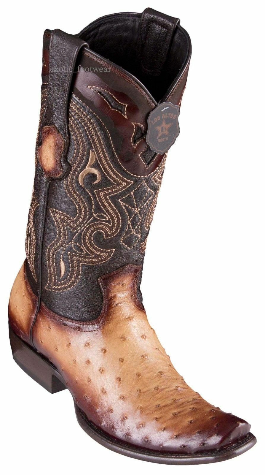 King Exotic ORYX TAN Genuine Full Quill Ostrich Western Boot Dubai Square Toe EE