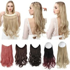 No Clip Wave Halo Hair Extensions Ombre Synthetic Natural Black Blonde