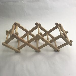 Kamestein Wooden Wine Rack Expandable Fold Out 3 Bottle Holder Brown