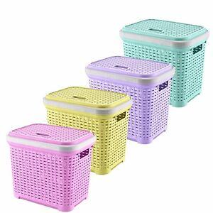 45L-Plastic-Rattan-Storage-Basket-Stackable-Hamper-Hampers-Clothing-Washing-Box