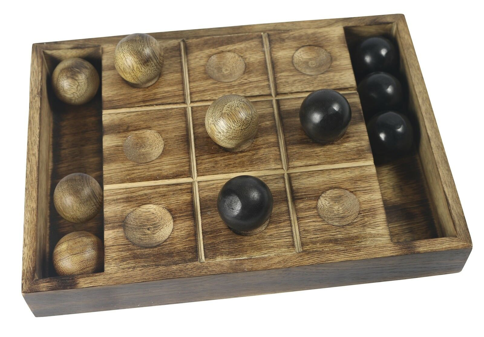 TIC TAC TOE NOUGHTS AND CROSSES MANGO WOOD HAND CRAFTED TABLE TOP GAME