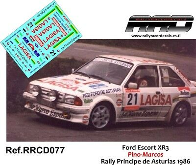 Decal/calca 1/43; Ford Escort Xr3; Pino-marcos; Rally Principe 1986 Alta Resilienza
