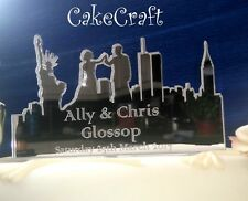 New York City Mirrored acrylic Wedding, engagement cake toppers decorations