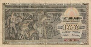 Vintage Yugoslavia Banknote 100 Dinara 1953 Pick 68 Steam Locomotive US Seller