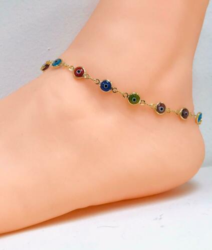 "For Women//Girls Anklet,Evil Eye Protection. 14K Gold Filled Anklet Bracelet 10/"""
