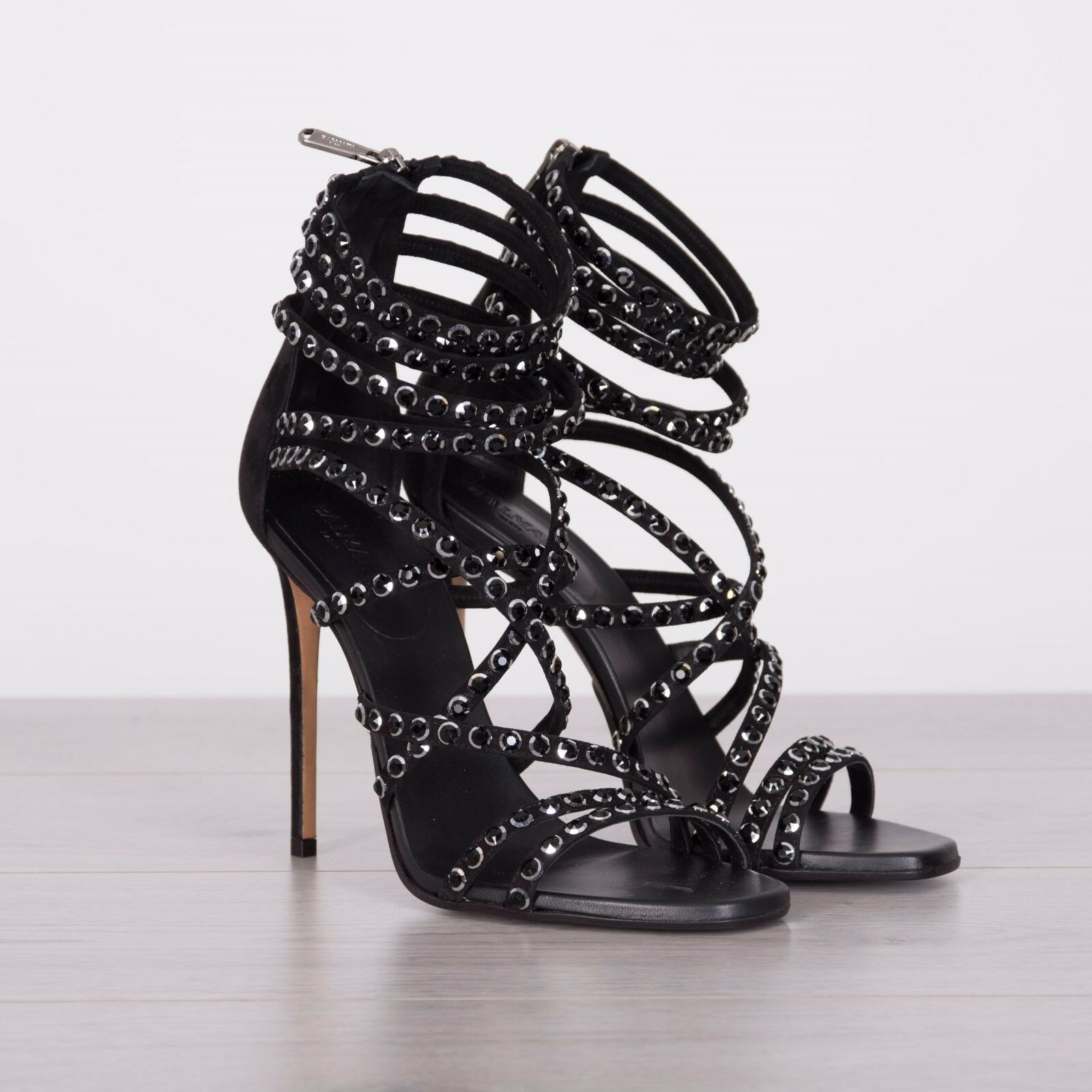BALMAIN 1490  Authentic New Black Crystal Embellished Strappy High Heel Sandals