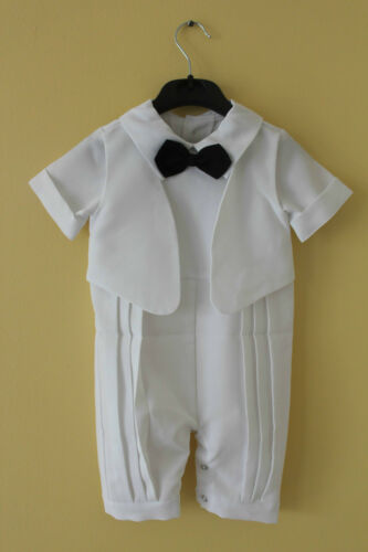 Baby White Romper Faux Tuxedo Outfit 9//12//18//24MOS Christening Wedding Functions