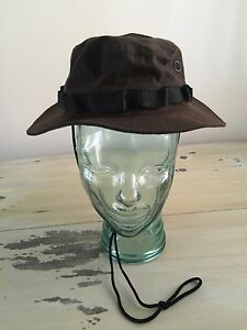 WAXED-COTTON-BOONIE-HAT-NEW-Brown-Military-Brimmed-Army-Cap-Mens-SMALL-6-75-7