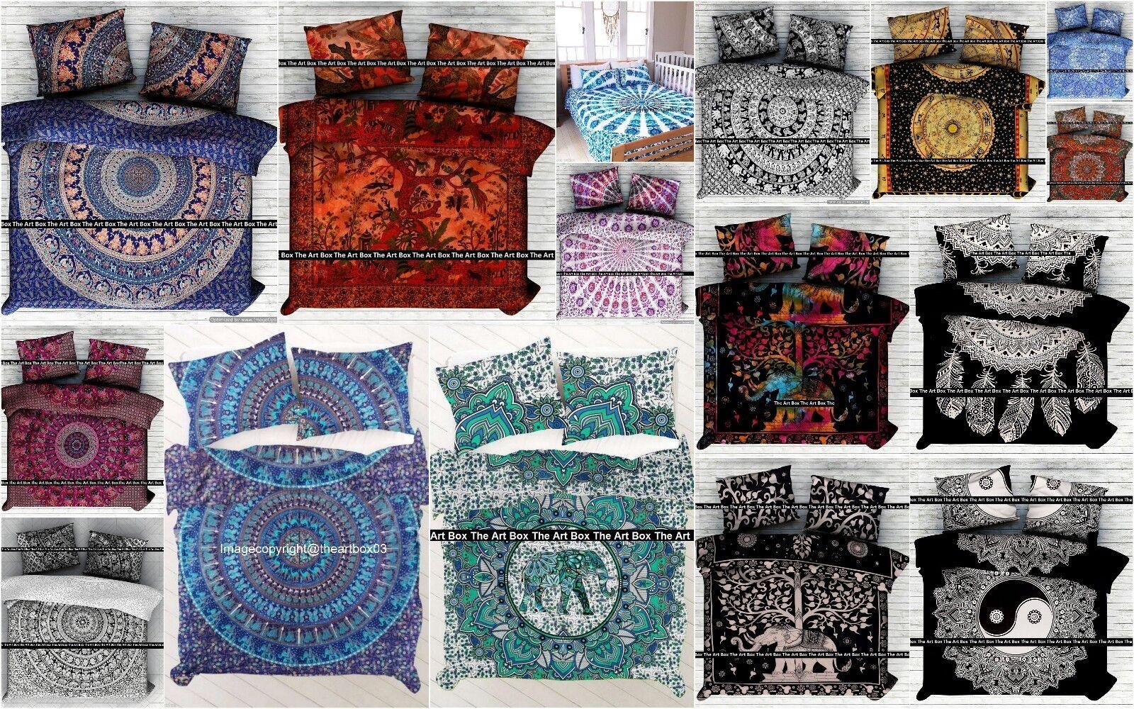 Indian Cotton Queen Size Duvet Doona Cover Ethnic Bedding Comforter Set Decor
