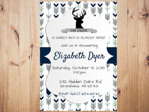 Rustic Deer Baby Shower Invitation Personalized Custom  **You Print