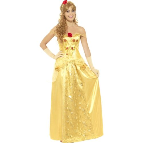 Golden Princess Costume FairyTale Storybook Belle Women/'s Fancy Dress Costume