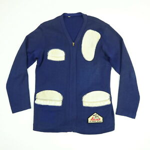 Vtg-40s-50s-Range-Jacket-S-M-Knit-Leather-Pad-Trim-Ranch-House-Gun-Club-Blue