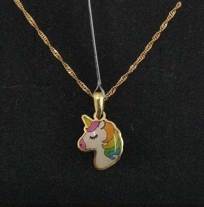 Pendant with Chain gold 18k. Unicorn Enamel
