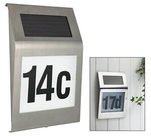 design solar hausnummer mit led beleuchtung edelstahl hausnummernleuchte ebay. Black Bedroom Furniture Sets. Home Design Ideas