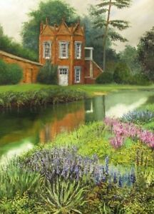 ACEO-PRINT-of-OIL-PAINTING-RYTA-LANDSCAPE-FLOWER-GARDEN-COTTAGE-DECOR-HAUNTED