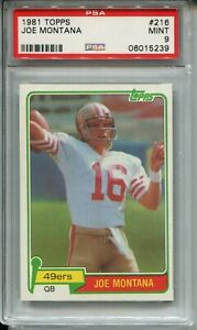 1981 Topps Football 216 Joe Montana 49ers Rookie Card RC Graded PSA Mint 9 49ers