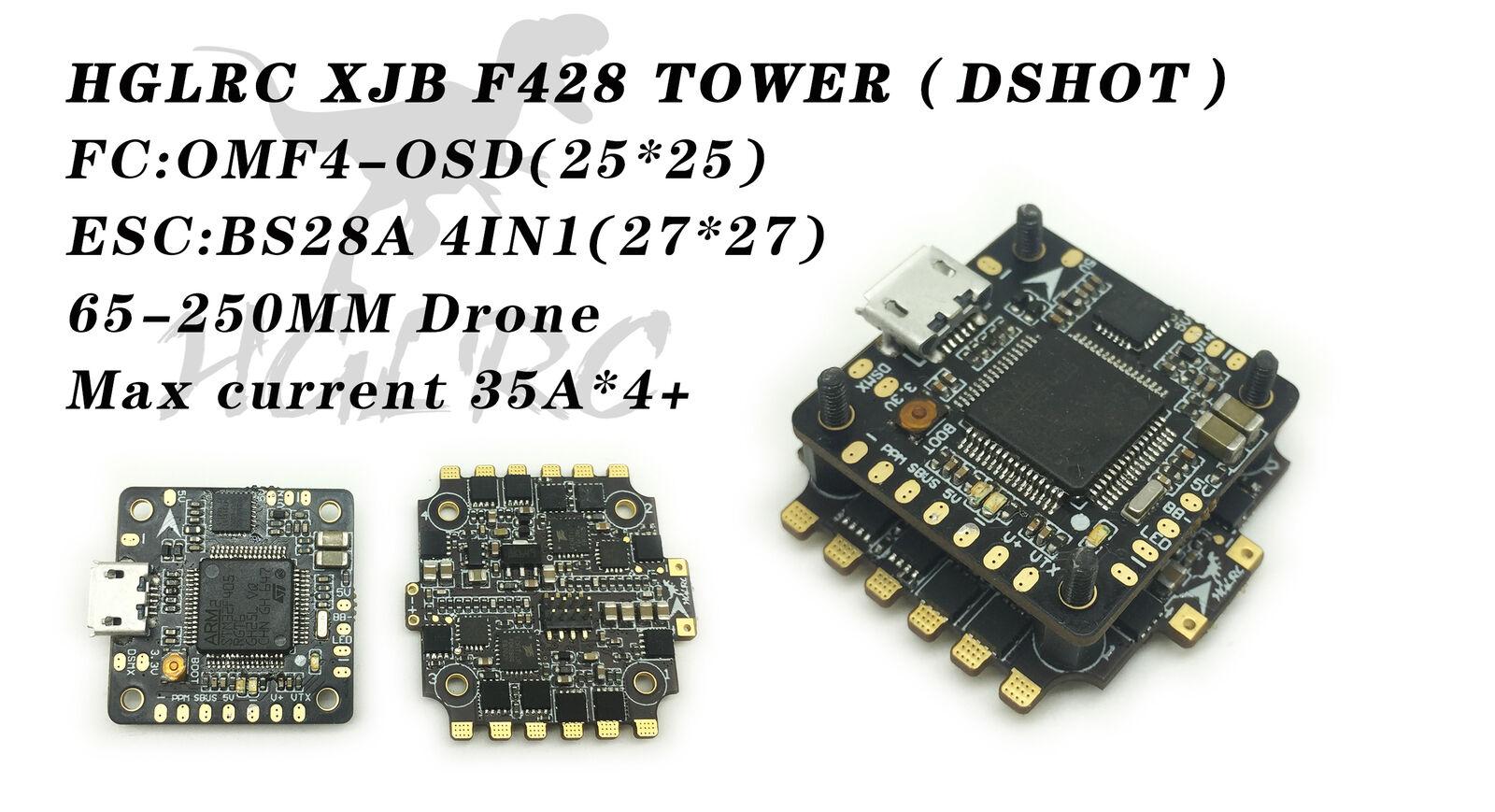 HGLRC F4 XJB F428 dshot de control de vuelo Tower flytower OSD circuito eliminador de batería Control de vuelo