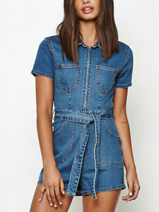 ac0212a1ebe Image is loading Minkpink-Under-Construction-Playsuit-Blue-Denim-zip-front-