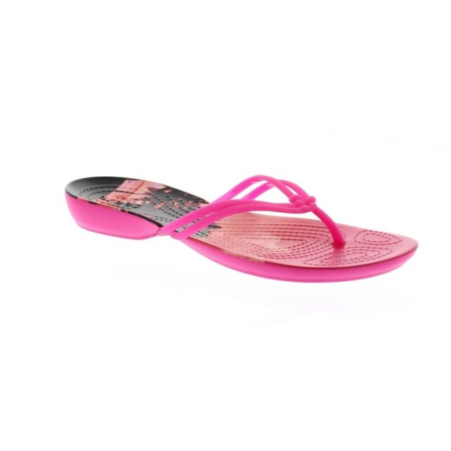 de3719c28 Crocs Womens ladies Isabella Graphic Flip Flop Light Croslite Shoes ...