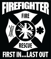 Firefighter Decal Maltese Cross Car Window Vinyl Sticker Custom Text