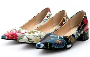 SZ-US12-Chic-Floral-Pumps-Womens-Pointy-toe-Party-Heels-Block-Heel-Slip-on-Shoes