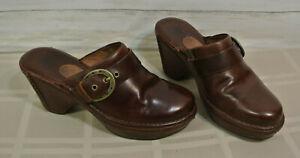 ARIAT-Boot-Co-8-Women-Clogs-Brown-Leather-HORSESHOE-Buckle-Heel-Mule-Shoe-Sandal