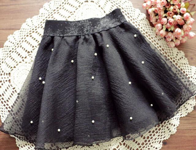 Women's Beads High Waist Pleated Floral Short Mini Skirt Skater Women Skirts