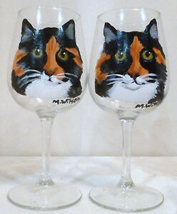 Calico Torti Cat Wine Glasses Set Of 2 Hand Painted By Mary Wilson