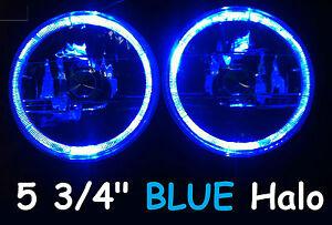 "1pr 5 3/4"" 146mm Semi Sealed Headlights Blue Halo Angel Eyes DRL"