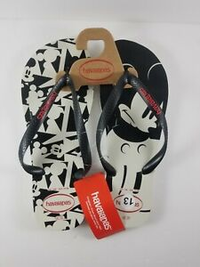 Disney Havaianas Flip Flops Sandals Mickey Mouse Black & White Size 13 EUR 47/48