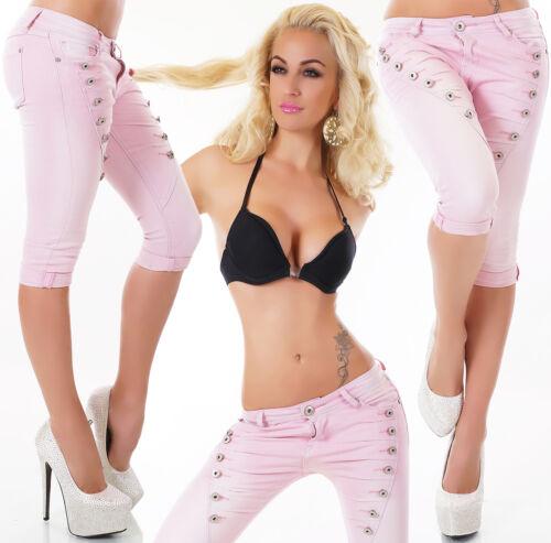 Mozzaar Button Boyfriend Chino Capri bermuda 3/4 Jeans Pantaloni 34 36 368 40 42 Top