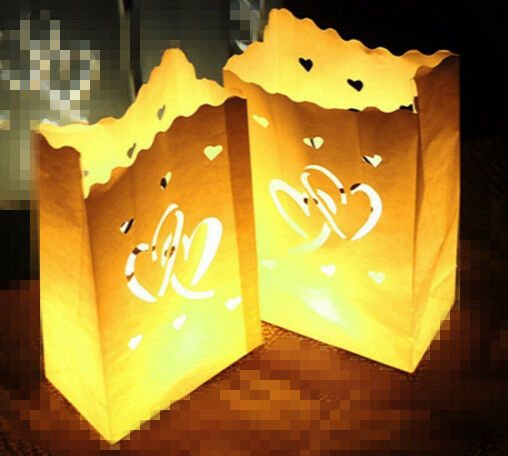 100Twin heart Weiß tealight candle bag luminary wedding party event decoration