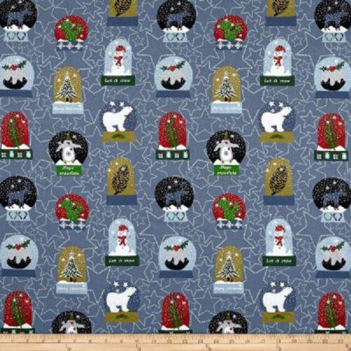 Half Metre Length Snow House Snow Globes Blue Christmas Print Fabric