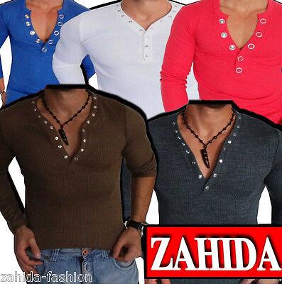 Sweat-Shirt Longsleeve Sweatshirt Pullover Herren V-Y-Neck Langarm Shirt NEU