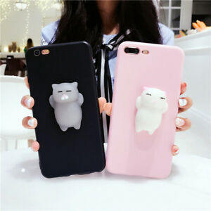 best sneakers 7ac46 2633a Details about FT- 3D Cute Relief Soft Squishy Cat Phone Case Cover for  iPhone 6S 7 Plus X Grea