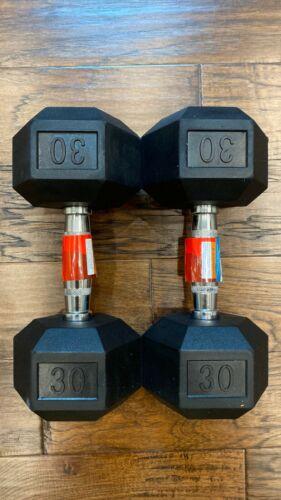 Dumbbell Sets of 10lb 15lb 20lb 25lb 30lb 35lb OR 40lb ; Rubber Hex Dumbbells