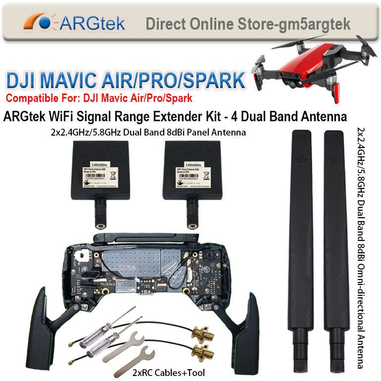 ARGtek DJI Mavic Air Pro Spark WiFi Signal Signal Signal Range Extender Kit - 4 Antennas c35976
