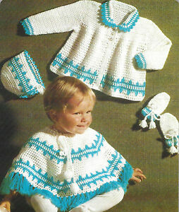 Baby Poncho Coat Bonnet And Mitts Crochet Pattern 4ply 20 693 Ebay