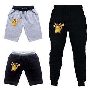 New Pokemon DETECTIVE PIKACHU Boys Girls Leisure Cartoon Shorts Trousers Cotton