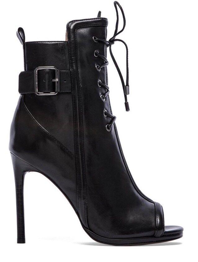 Rachel Zoe Maggie Botines De Cuero Negro Negro Negro botas al Tobillo 9  495 4ce9ee