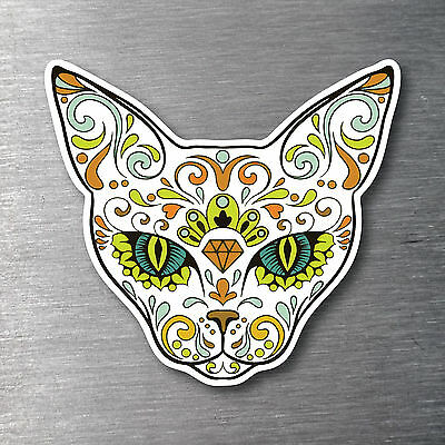 Sugar skull Cat day of the dead  sticker 7 year water & fade proof vinyl