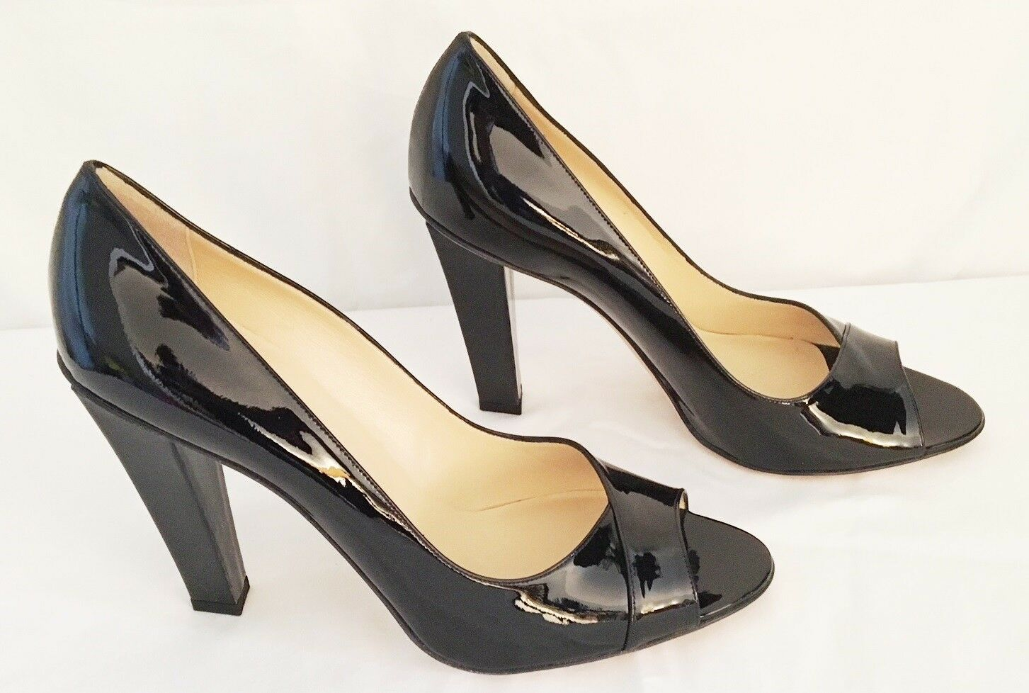 NIB  770 Sz 41 9.5M Black Patent Leather Peep Peep Peep Toe JIMMY CHOO Pump Made in  26acc5