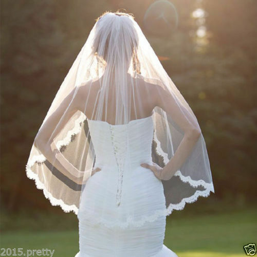 New Wedding Veil One-tier Fingertip Veils Lace Applique Edge With Comb Nice