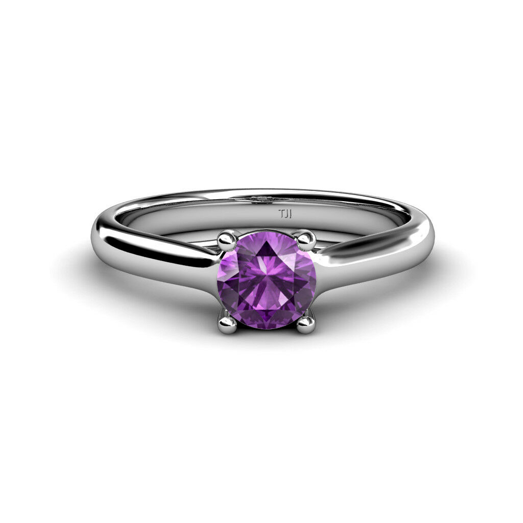 Round Amethyst Women Solitaire Engagement Ring 14K gold JP 82624